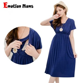 Emotion Moms Fashion nursing Dress Breastfeeding Dress Summer Maternity Clothes for Pregnant Women Maternity Dresses Soft Fabric