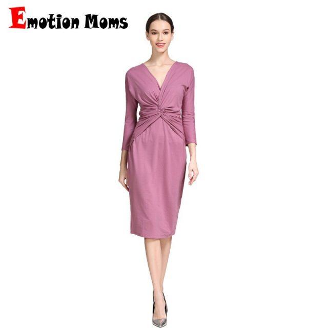 Emotion Moms Pregnant Clothing 3/4 Sleeve Stretch Cotton Maternity Breastfeeding Nursing Dresses Women Pregnancy Clothes Spring