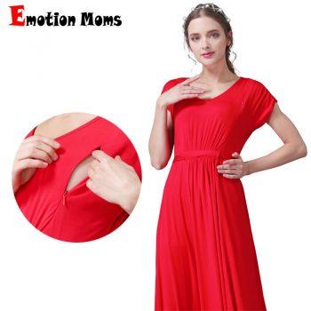 Emotion Moms long Maternity Nursing Dress for pregnant women Summer Nursing Clothing Soft pregnancy Breastfeeding Dresses