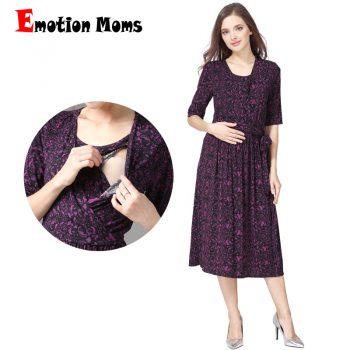 Emotion Moms New V-Neck Party Maternity Dress Nursing Dress Breastfeeding Dresses for Pregnant Women Pregnancy maternity clothes