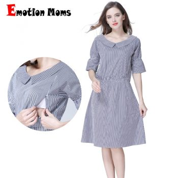Emotion Moms Striped Maternity Clothes Nursing Breastfeeding pregnancy Dresses for Pregnant Women Maternity Dress S M L XL