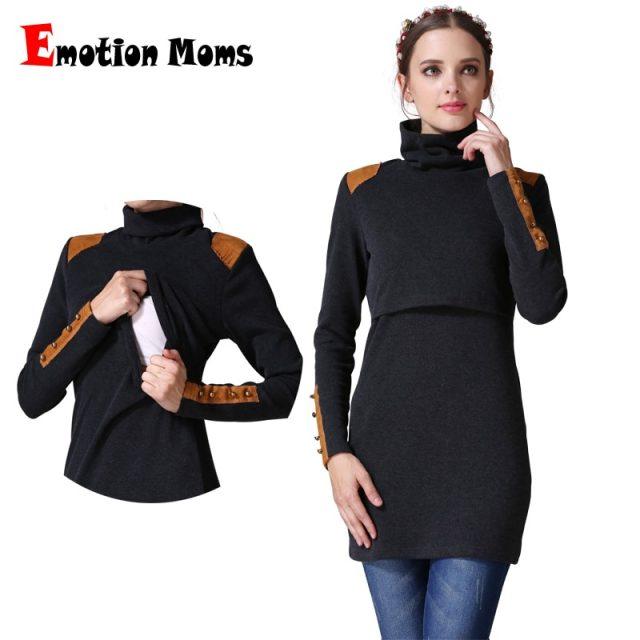 Emotion Moms Turtleneck Maternity clothes nursing Breastfeeding dresses pregnancy clothes for Pregnant Women maternity dresses