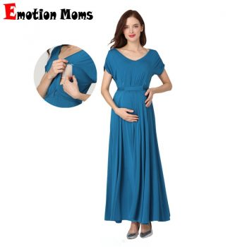 Emotion Moms 2019 Spring Summer Maternity Clothes  Pregnant Women Dress Casual Sexy V Neck For Pregnant Women