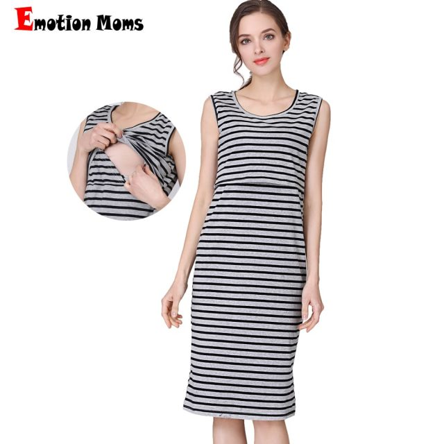 Maternity Dress Breastfeeding Clothing Sleeveless Summer Stripe Nursing Clothes for Pregnant Milk Women Cotton Fabric US Size