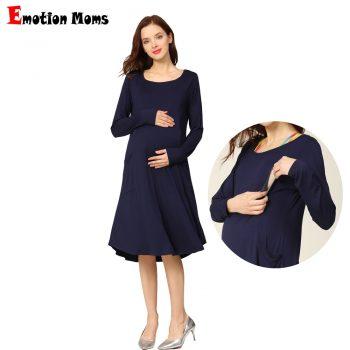 New Spring Long Sleeve Maternidad Lactancia Clothing Stretch Pregnant Dress Pocket Loose Maternity Breastfeeding Nursing Dress