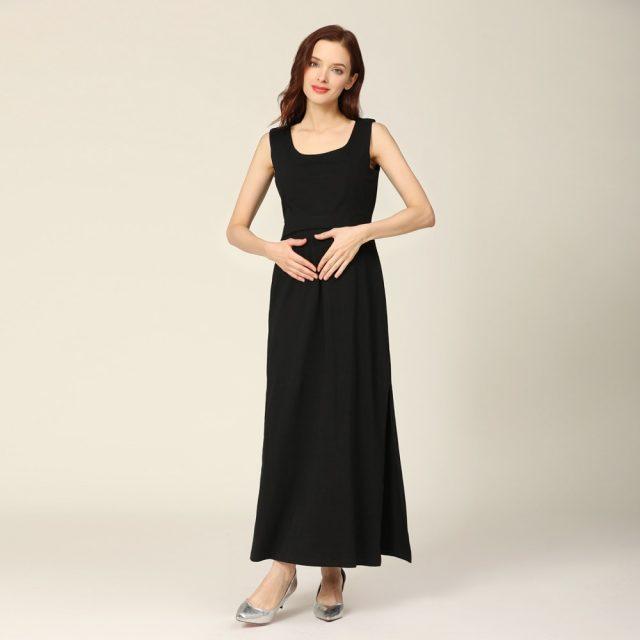 2020 New Summer Maternity Long Dress Women Pregnant Dress Sleeveless Stretch Cotton Stripe Breastfeeding Lactancia Clothes