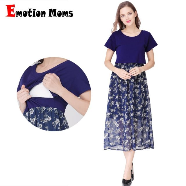 Emotion Moms Short Sleeve Pregnancy Maternity Clothes Maternity Dress Breastfeeding Dresses for Pregnant Women Nursing Dress