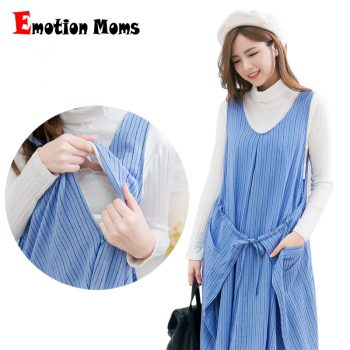 Emotion Moms Fashion Striped Maternity Clothes Breastfeeding Dresses for Pregnant Women Casual Nursing Clothing Maternity Dress