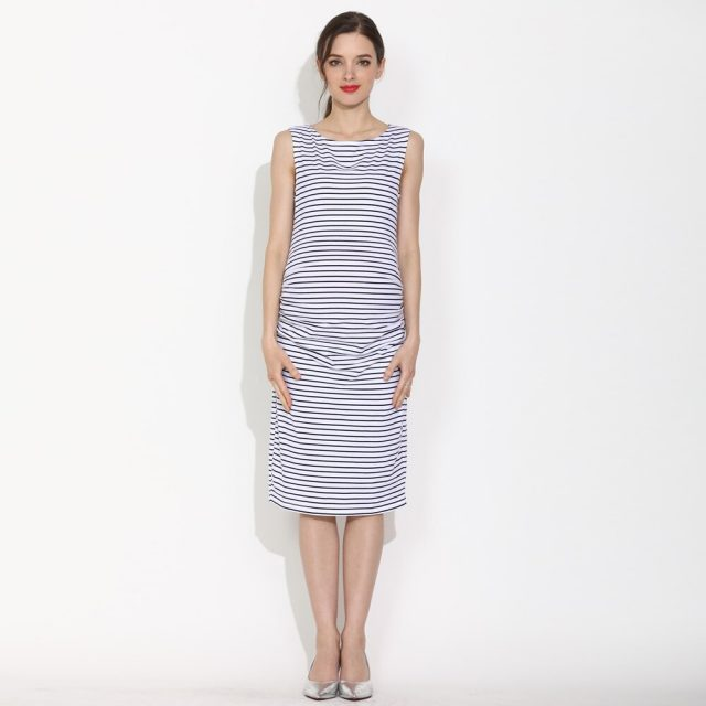 Emotion Moms Summer Pregnant Dress Sleeveless Pregnancy Clothes Casual Summer Stripe Cotton Maternity Mama Knee-length Dress