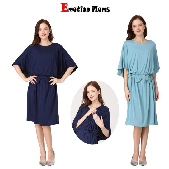 Emotion MomsHot Mom Breastfeeding Clothes Spring New Five-point Sleeves Pregnant Women Dress Loose Pregnant Women Breastfeeding