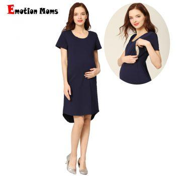 Emotion Moms Women Summer Pregnant Dress Maternel Wear Nursing Clothes Solid Navy Zipper Breastfeeding Dress Big Size Maternity