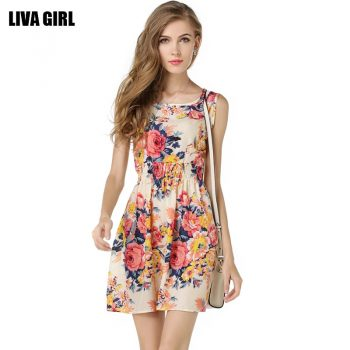 Flower Print Summer Dress Women Tunic Vestidos Casual O Neck Sleeveless Short Chiffon Dresses Office Elastic Waist Slim Dress