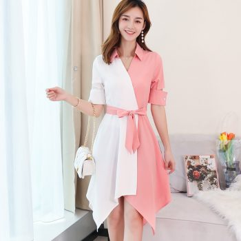 Women 2019 Spring Summer New Dresses Ladies Leisure Patchwork Fashion V Neck Office Work Dress Plus Size Pink Party Vestidos