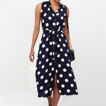 Women Tunic Office Work Dot Printed Sleeveless Dress Summer Slim Sundress Blue Black Fashion Elegant Slit Party Dresses Vestidos
