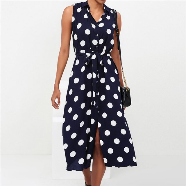 Women Tunic Office Work Dot Printed Sleeveless Dress Summer Slim Sundress Blue Black Fashion Elegant Slit Party Dresses Vestidos