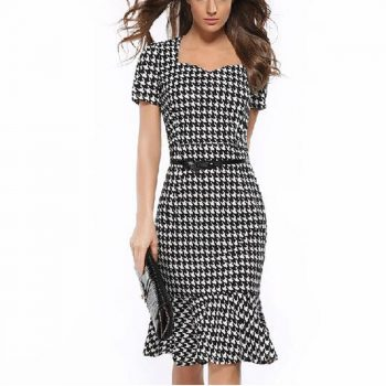 Bird Plaid Summer Dress Women Office Bodycon Fishtail Midi Dresses Sexy White Elegant Short Sleeve Slim Party Dress Vestido Belt
