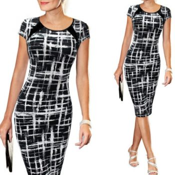 Elegant Office Lady Work Slim Pencil Dress Women Summer Dress Print Short Sleeve Bodycon Split Midi Dresses Party Black Vestido
