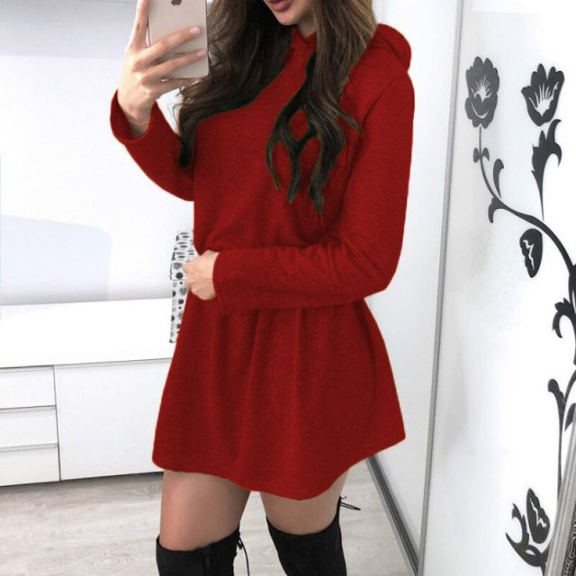 2020 New Ladies Spring Dress Casual Long Sleeve Hooded Elastic Waist Slim Mini Dress Autumn Women Red Black Grey Yellow Vestidos