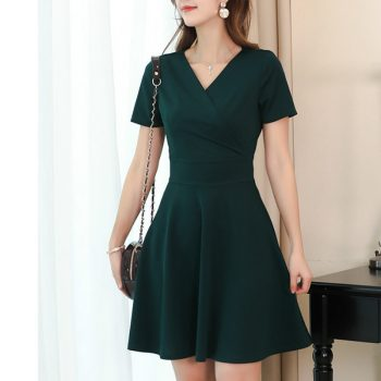 New Sexy V Neck Short Sleeve A Line Dress Women Fashion Green Black Slim Summer Dress Female Office Ladies Work Dresses Vestidos