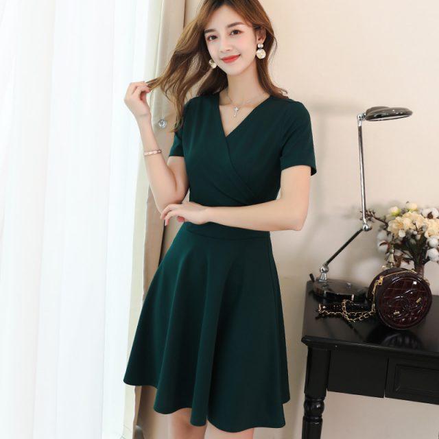 New Sexy V Neck Short Sleeve A Line Dress Women Fashion Green Black Slim Summer Dress Female Office Ladies Work Dresses Vestidos