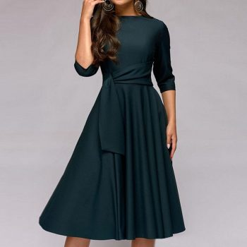 Brand New Spring Summer Dress Women High Street Robe Big Swing Pinup Elegant Party Dress Slim Midi Plus Size Dresses Vestidos