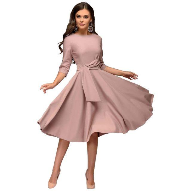 Brand New Spring Summer Dress Women High Street Robe Big Swing Pinup Elegant Party Dress Slim Midi Plus Size Dresses Vestidos