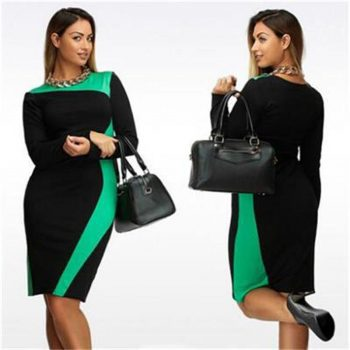 6XL Plus Size Dress Office Lady Large Size Slim Straight Midi Dress Casual Women's Big Size Contrast Color Elegant Hip Dresses