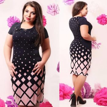 6XL Large Size Summer Straight Dress Ladies Big Size O Neck Casual Gradient Print Dress Plus Size Women Midi Clothing Vestidos