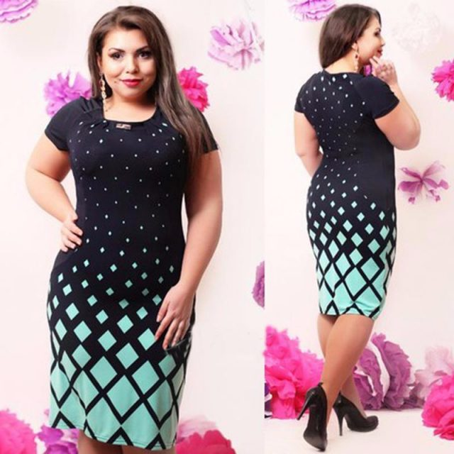 6XL Large Size Summer Straight Dress Ladies Big Size O Neck Casual Gradient Print Dress Plus Size Women Midi Clothing Vestidos