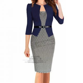 Office Work Spring Dress Women Fake Two Sets Professional Bodycon Dress Plus Size Print Patchwork Hip Pencil Dresses Belt Blue