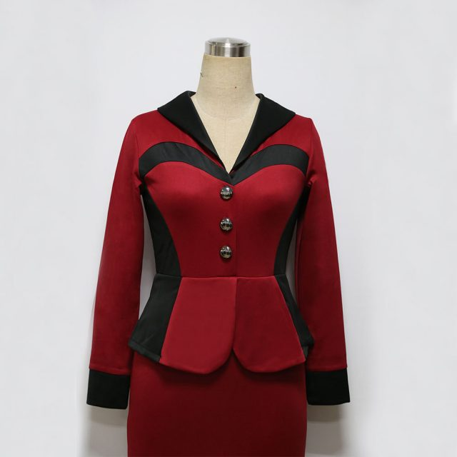 Fashion Women Vintage Faux Two Piece Dress Elegant Lady Long Sleeve Patchwork Pencil Dress Work Office Wear Plus Size Vestidos