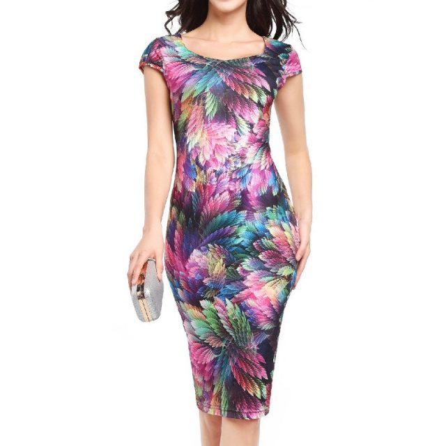 Classic Style Office Work Dress Women Feather Print Sundress Summer Short Sleeve Bodycon Midi Pencil Dress Sexy Hip Vestidos