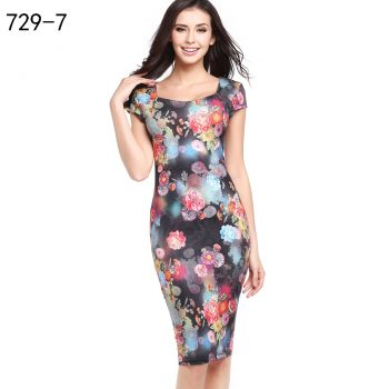 Classic Style Office Work Dress Women Feather Print Sundress Summer Short Sleeve Bodycon Midi Pencil Dress Sexy Hip Vestidos