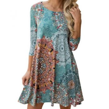 5XL Womens Autumn Long Sleeve Vintage Boho Short Dress Party Beach Floral Print Ladies Dress Robe Femme Plus Size 4XL Vestidos