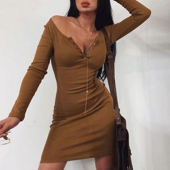 2020 New Spring Club Party Dress Women Sexy Bodycon Vestidos Button V Neck Mini Dress Pure Knitted Hip Pencil Dresses Vestidos