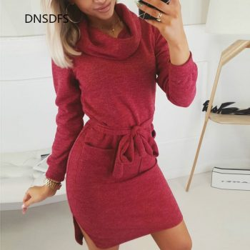 2020 New Ladies Spring Winter Dress Casual Long Sleeve Loose Turtleneck Lace Up Dress Women Slit Tunic Red Black Grey Vestidos
