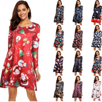 Stretch Fabric Long Seeve Christmas Dress Women Autumn Winter Vintage Dress Party Vestidos New Retro Cartoon Print Dress Female