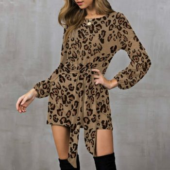 2019 New Spring Autumn Dress Fashion Floral Print Round Neck Bow Tie Waist Dress Casual Long Sleeve Women Party Dresses Sexy