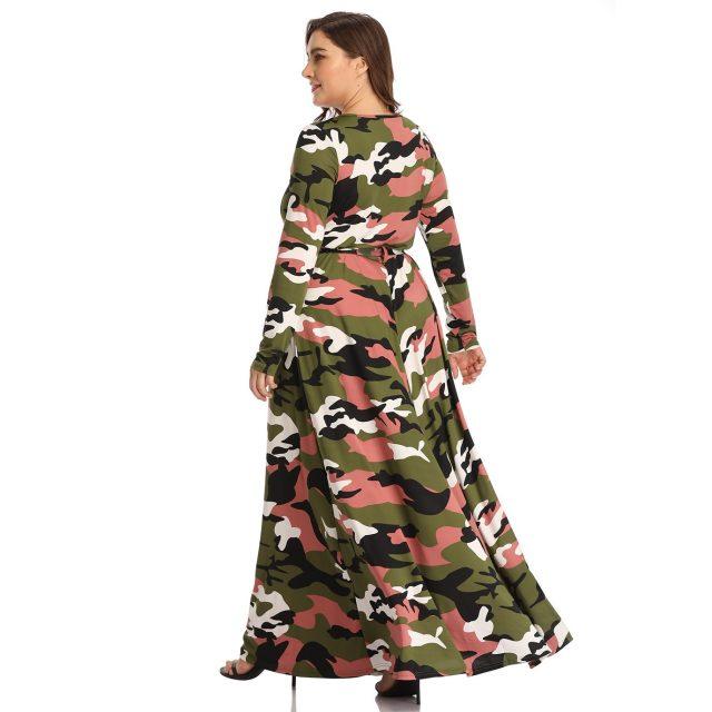 New Women's European Autumn Winter Camouflage Dress Fashion Long Dresses Plus Big Size 4XL Elegant A-line Vintage Party Vestidos