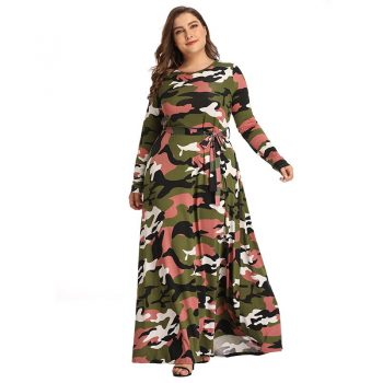 New Women's European Autumn Winter Camouflage Dress Fashion Long Dresses Plus Big Size 4XL Elegant A-line Vintage Party Vestidos