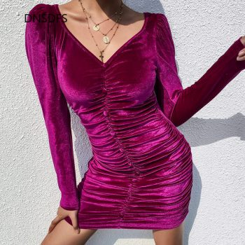 2020 New Spring Women Dress Sexy V Neck Bubble Long Sleeve Hip Pencil Dress Purple Pleated Bodycon Party Elegant Tunic Vestidos