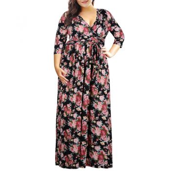 Women Summer Floral Print Dress Casual Vintage Dress Elegant Sexy Pocket Party V Neck Long Floor Length Dress Plus Size 3XL-9XL