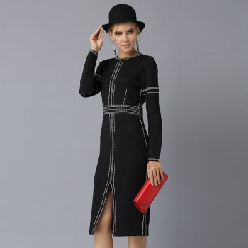 New Knitted Dress Early Autumn Women's New Split Dresses Party Vestidos Long Sleeve Slim Black Pencil Dress Midi Bottoming Tunic