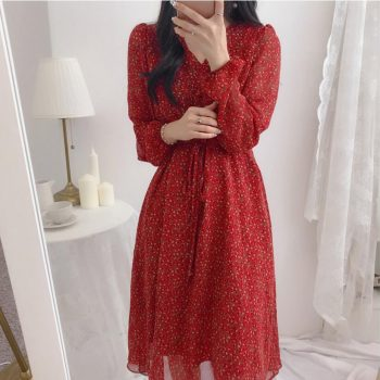 Women Autumn Dress 2019 Lace Up Buttons V Neck A Line Sexy Dress Long Sleeve Party Floral Print Ruffle Casual Dress Red Vestidos