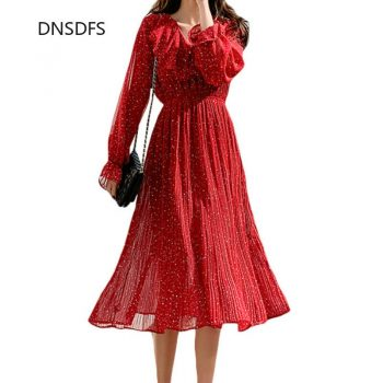 2020 New Spring Women Tunic Party Polka Dot Print Long Dress Sweet Fairy Long Pleated Ruffle Collar Chiffon Dresses Red White