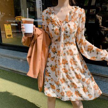 Women Summer Chiffon Dress 2019 Bow Tie Ruffles V Collar A Line Sexy Dress Long Sleeve Lace Up Holiday Floral Print Dress Tunic