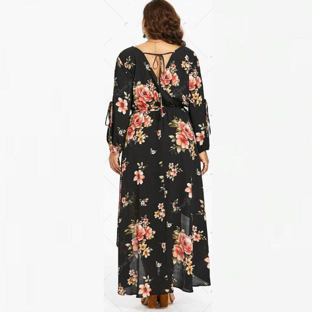 5XL Tall Women Sexy V Neck Vintage Black Flowers Print Plus Size Dress Backless Bandage Lace Up Long Irregular Maxi Dresses 4XL