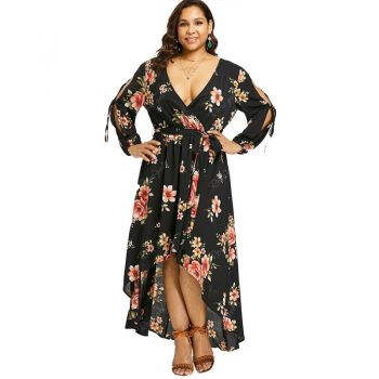5XL Tall Women Sexy V Neck Vintage Black Flowers Print Plus Size Dress Backless Bandage Lace Up Long Irregular Maxi Dresses 4XL