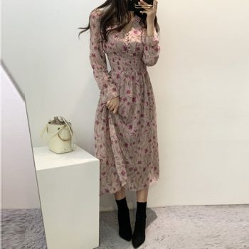 Sweet Women Summer Dress 2019 Elastic Waist V Neck Sexy Dress Long Sleeve Holiday Floral Print Ruffle Chiffon Dress Pink Female