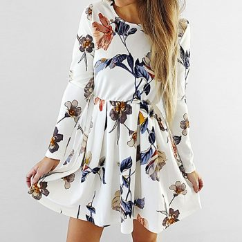 2019 Spring Autumn Dress Women Casual O Neck Elastic Waist Slim Flower Printed Dress Beoho Beach Fashion Chiffon Dresses White